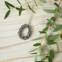 Helm Weave Chain Maille Loop Necklace Blackened Silver