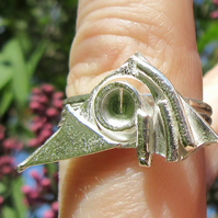 Cthulhu Statement Faux Stacking Ring in Sterling Silver Size M (A - Z)