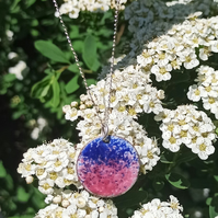 Pink and Blue Torch Fired Enamel Circle Pendant with Silver Necklace