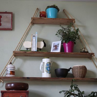 Reclaimed Pine Hanging Shelves - Pyramid Design with three shelves