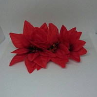 Red Poinsettia Hair Comb