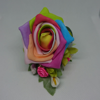 Rainbow Artificial Rose Lapel,Wrist,Handbag Corsage