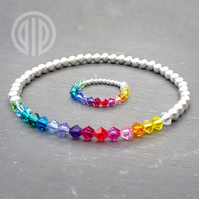 Elasticated sterling silver and rainbow Swarovski® bracelet and ring set