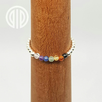 Elasticated 925 sterling silver beaded chakra ring
