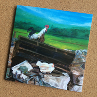 Blank card featuring chickens from my original painting