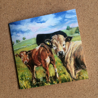 Blank card featuring calves from my original painting