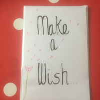 Hand lettered and hand illustrated Make a Wish Card