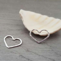 Sterling Silver Heart Connectors - Earring Components - 2 Pieces