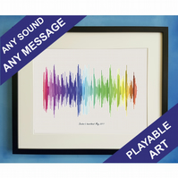 Playable Voice Recording Message Heartbeat Personalised Soundwave Art Print