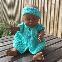 Handknitted dolls cardigan