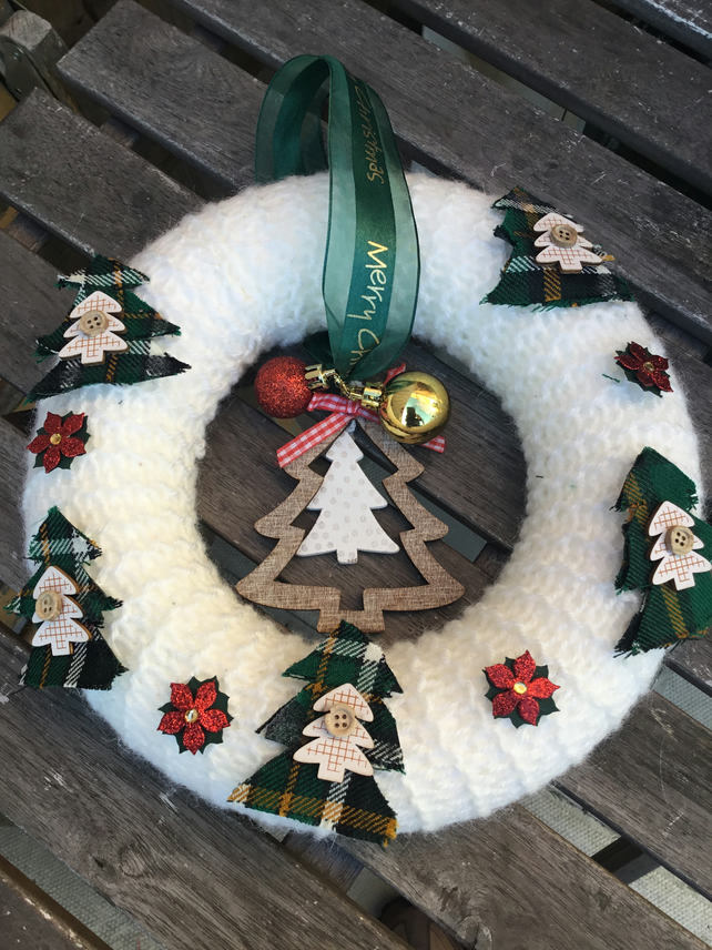 Hand knitted Christmas Wreath