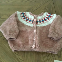 Handknitted baby cardigan in Fair Isle