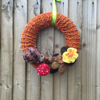 Hand knitted Autumn, Fall, Woodland door wreath
