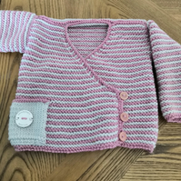 Baby wrap cardigan, hand knit in cashmerino