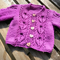 Hand Knit 'Love Hearts' Baby Cardigan with lacey heart pattern
