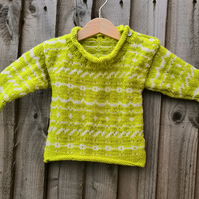 Hand knit Traditional Fair Isle baby jumper. Vintage style baby jumper.