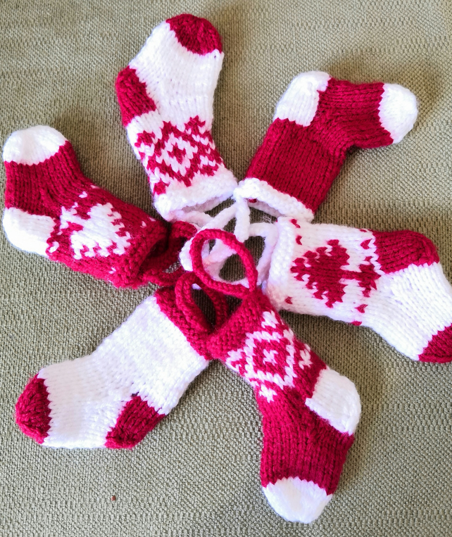 Mini Scandinavian hand knitted Christmas Stocking decorations