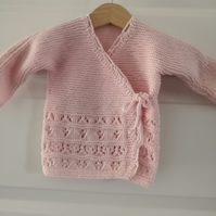 Hand knit traditional ballet baby cardigan. Baby kimono style cardigan.