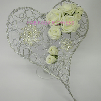 Contemporary Wire Heart Wedding Bouquet