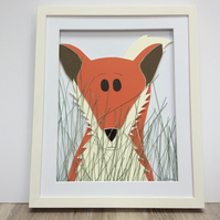 Handmade, fox picture - kids, children's room, nursery, wall art, 3d wall art