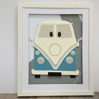 Blue campervan wall art- room decor, children's room, nursery, 3d wallart
