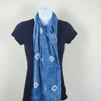 Organic Cotton Scarf hand dyed with indigo using Shibori techniques