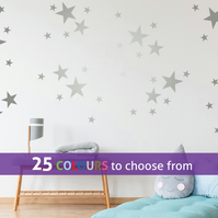 48 mixed size SILVER matt metallic STARS, shapes wall art stickers decals