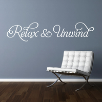 RELAX & UNWIND 80cm wide WHITE wall art sticker decal