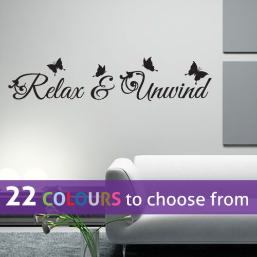 RELAX & UNWIND 58cm wide BLACK wall art sticker decal for bathroom, bedroom wall