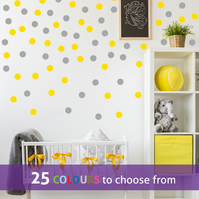 40  2 inch BRIGHT YELLOW and 40  2 inch GREY POLKA DOTS wall stickers decals