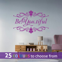 Be You tiful BEAUTIFUL, PURPLE wall art sticker decal with swirls ornament frame