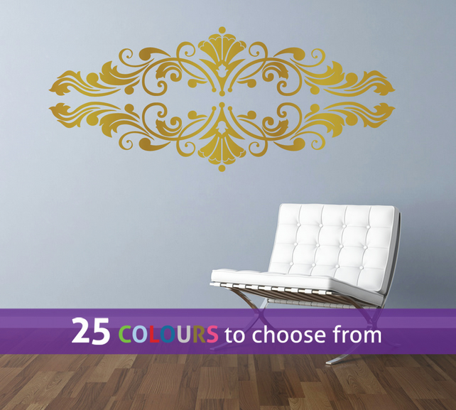 DAMASK swirls ornament frame, GOLD matt metallic swirls wall art sticker decal
