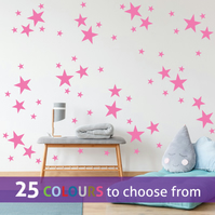 96 mixed size STARS, BUBBLEGUM PINK colour star shapes wall art stickers decals