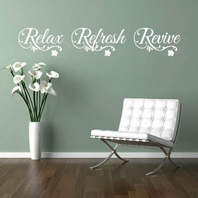RELAX REFRESH REVIVE 86cm WHITE flowers swirls wall art sticker decal salon spa