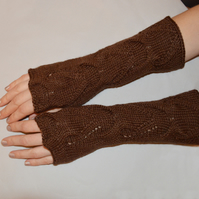 Handmade wool acrylic wristwarmers fingerless driving gloves fancy pattern brown