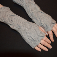 Handmade wool nylon wristwarmers fingerless driving gloves fancy pattern grey