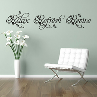 RELAX REFRESH REVIVE 80cm BLACK swirls wall art sticker decal salon spa bathroom