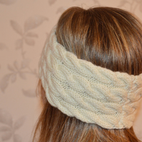 Woolen Hand Knitted HEADBAND earwarmer Cable Knit in natural white wool colour