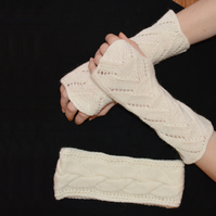 Woolen matching Headband & Wrist Warmers, Fancy pattern fingerless gloves white