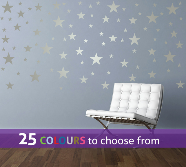 90 mixed size 1, 2, 3 inch SILVER matt metallic STARS shape wall stickers decals
