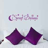 SWEET DREAMS, PURPLE nursery wall art sticker decal with stars and moon