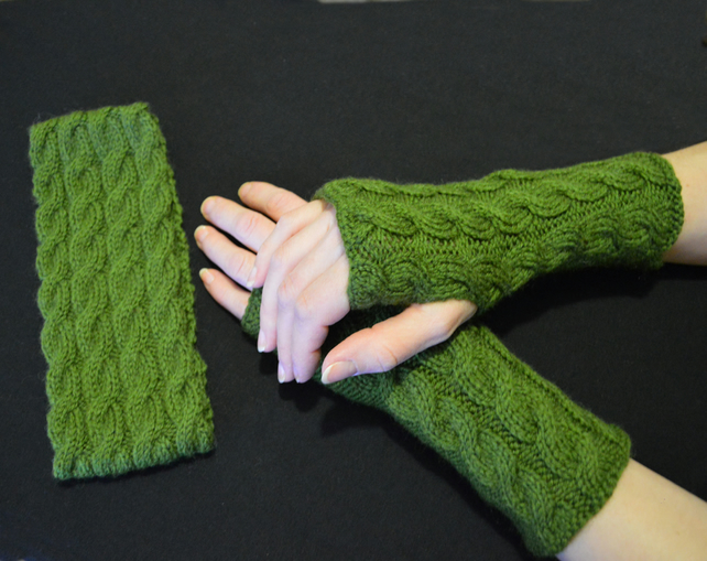 Wool, Acrylic matching Headband and Wrist Warmers, Cable Knit fingerless gloves