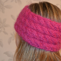Mohair Wool Hand Knitted HEADBAND earwarmer Cable Knit in hot pink, fuchsia
