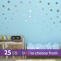 20  3 inch, 20  2 inch, 20  1in POLKA DOTS silver metallic wall stickers decals