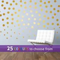 80  2 inch, 30  1 inch POLKA DOTS gold matt metallic spots wall stickers decals