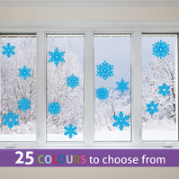 10 of 4 inch & 5 of 5 inch Bright BLUE SNOWFLAKES window, wall stickers decals