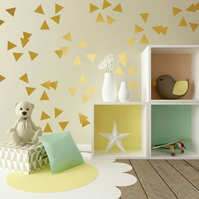 80 of 2 inch (5 cm) GOLD matt metallic TRIANGLE shapes wall art stickers decals