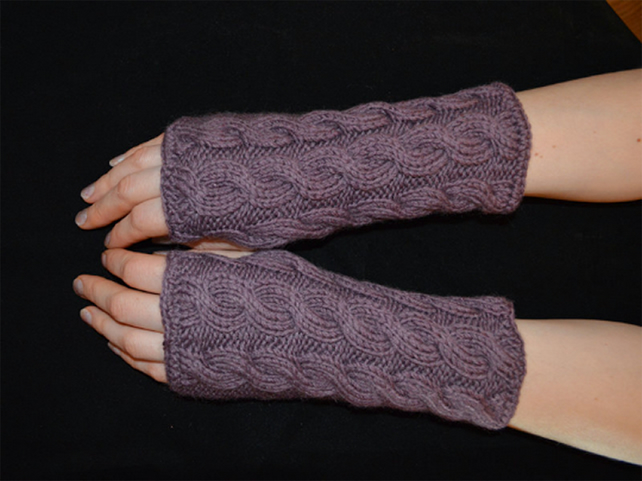 Wool, Acrylic Wrist Warmers Cable Knit pattern fingerless driving gloves, purple