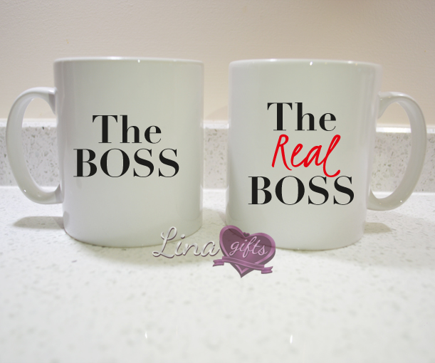 The BOSS, the REAL BOSS funny couples his hers white ceramic MUG SET, cup set