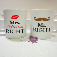 Mr Right Mrs Always Right funny couples his hers white ceramic MUG SET, cup set